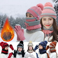 4PCS Womens Winter Beanie Hat Set Touch Screen Gloves Knitted Ski Cap Mask Scarf