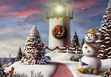 Red Path and Lighthouse - Box of 18 Christmas Cards by Red Farm Studios