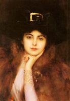 Art Oil painting Female Portrait of an Elegant Lady with hat on canvas AAAAAAAAA