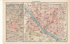 c. 1890 ITALY FLORENCE FIRENZE CITY PLAN Antique Map
