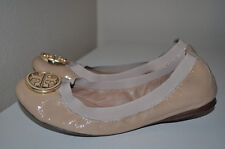$225+ Tory Burch CAROLINE Sz 5 Nude Patent Leather Ballet Flat Shoes Beige