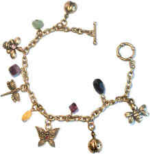 TOGGLE CHARM BRACELET butterfly, dragonfly vintage brass antique gold pl crystal