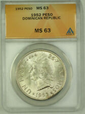 1952 Dominican Republic Silver 1 Peso ANACS MS 63