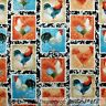 BonEful Fabric FQ Cotton Quilt Brown Red Blue White Rooster Chicken Farm Animal