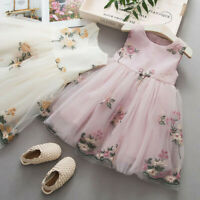 Toddler Baby Kids Girls Floral Tulle Dress Princess Pageant Party Dress Clothes
