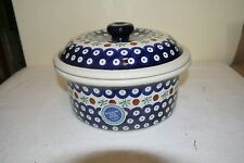 NWT BOLESLAWIEC Polish Pottery 1.5 Qt MOSQUITO Covered Casserole Baker