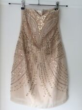Bandeau Beige H&M With Sequins Dress NWT Size 36 , 10 Uk