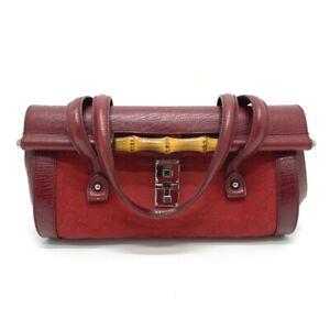 GUCCI 111713 Bamboo Semi Shoulder Bag Duffle Bag Hand Bag GGCanvas/Leather Red