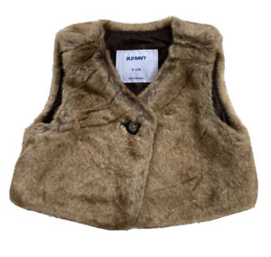 OLD NAVY Infant Girls Brown Faux Fur Vest Button NWT SIZE 6-12 MONTHS
