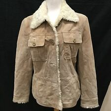 Wilsons Leather Maxima Fitted Sexy Camel Suede Fur Trimmed Coat Jacket Sz Large