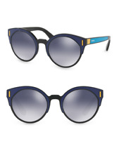 Prada SPR 03U SUI-3A0 Sunglasses Black Blue Yellow Frame Grey Blue Mirror 53mm