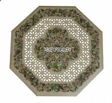 18'' Marble Top Pauashell Filigree Work Coffee Table Inlay Living Home Art H3951