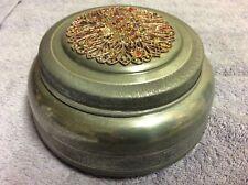 40's Metal Round Vanity Powder Puff Music Trinket Box Gold w/ Jewels.Works
