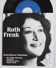 EP Ruth Frenk SIGNIERT singt jüdische Volkslieder  Hand signed Swiss made Single