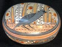 VTG TONALA Bird Oval Painted Trinket Box, Made in Mexico F