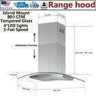 "36"" Stainless Steel Island Mount Range Hood 900 CFM Glass Mechanical Control New photo"