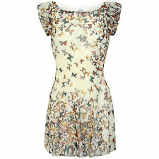 New Look Women Butterfly Print Pleated Dress Size S
