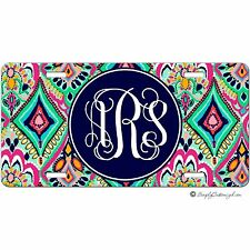 Personalized Monogrammed Car Tag License Plate - Pretty Floral Jewels Monogram