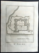 1756 Schley Antique Map, Plan of St Thomas Fort Tangasseri Kollam Kerala, India