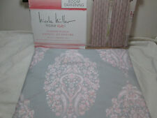 """New Nicole Miller Window Panels Set of Two 50""""x96"""" ~ Pink, Gray, White Medallion"""