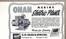 1950 Print Ad Onan Marine Electric Plants Minneapolis,MN