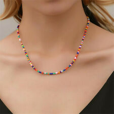 Necklace Handmade Statement Beaded Bead Multi Seed Strand Long Color Chain Beads