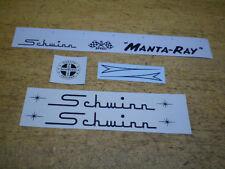 Complete Schwinn Stingray Manta Ray Bicycle Black Mantaray Decal Set