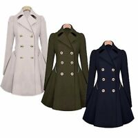 Womens Slim Double Breasted Trench Coat Long Outwear Overcoat Coat Jacket