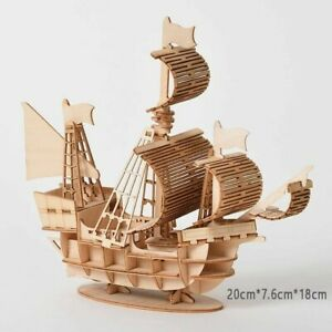 Laser Cutting DIY Sailing Ship Train Airplane Toys 3D Wooden Puzzle Toy Assembly