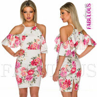 New Floral Print Off Bare Cold Shoulder Summer Dress Party Evening Size 6 8 XS S