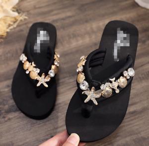 Women Summer Clip Toe Slippers High Wedge Heel Platform Flip-Flops Shoes Sandals