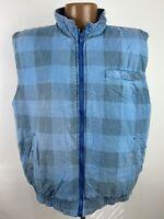 Vintage 70s Gingham Check Flannel Puffer Vest Mens Large Blue Faded Pilling Soft