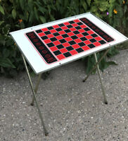 VTG Checkers Chess Metal Folding Tray Table TV Dinner Red White Black *Magnetic!