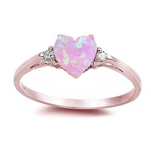 Rose Gold Pink Opal Heart & Cz .925 Sterling Silver Ring