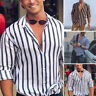 Mens Striped Formal T Shirt Slim Fit Long Sleeve Tops Blouse Tee Casual Shirts