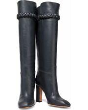 Valentino size 41 Braid detail Dark Grey Leather Boots RTL$1845