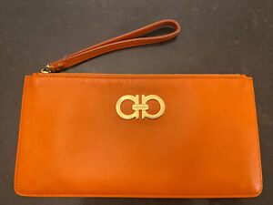 womens leather authentic salvatore ferragamo Orange clutch hand bag