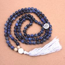 Blue Natural Sodalite Beaded Mala Lotus Tassel Necklace Gemstone Beads Blue