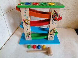 Kids Wooden Click Clack Racing Ramp Game