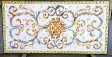tavolo in pietra lavica dipinto a mano.