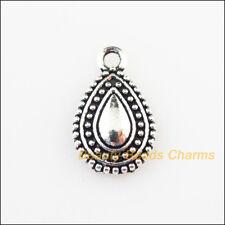 12 New Charms Teardrop Waterdrop Tibetan Silver Tone Pendants 10x16.5mm