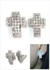 Large Silver Tone Sparkly Cross Full Crystal Diamante CLIP ON Earrings Studs