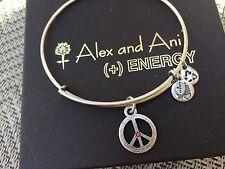 RARE! ALEX and ANI PINK RHINESTONE WORLD PEACE Sign Charm SILVER Bangle BRACELET
