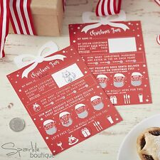 CHRISTMAS SCRATCH CARD TRIVIA x10-Xmas Dinner Table Ice Breaker Cards/Party Game