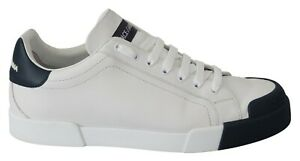 DOLCE & GABBANA Shoes Sneakers White Blue Leather Mens Logo s. EU44 / US11