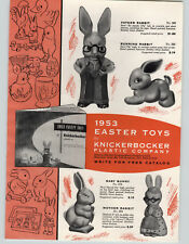 1953 PAPER AD Knickerbocker Toys Father Rabbit Running Mother Baby Easter Bunny
