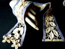18c old Victorian Belt Floral design bone ribs 3D design &H crochet lace Europe