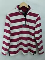 Ladies Joules 'Cowdray' Ruby Striped Button Neck Top Sweatshirt Size UK 16 EU XL