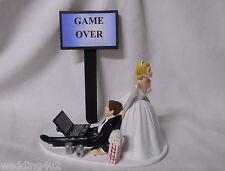 Wedding  Reception Party ~Laptop Computer~ Beer Drunk Nerd Groom Cake Topper
