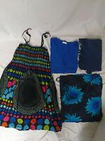 LOT de 4 vêtements M femme robe bretelle noir fleuris bleu rose vert Don Amigo